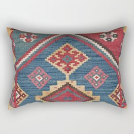 Vintage Woven Kilim // 19th Century Colorful Royal Blue Yellow Authentic Classic Ornate Accent Patte Rectangular Pillow
