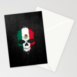 Flag of Mexico on a Chaotic Splatter Skull Stationery Cards