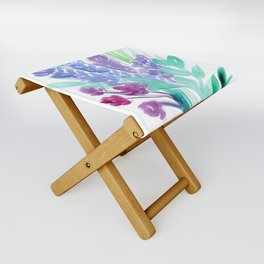 Lavender Floral Watercolor Bouquet Folding Stool