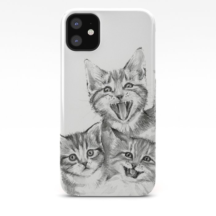 Kittens Pattern Cute Meowing Cats Iphone Case By Olechka