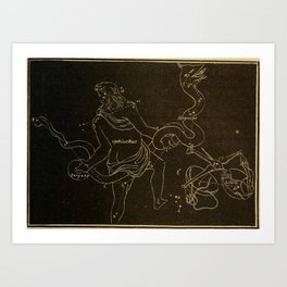 Astronomy for the Use of Schools and Academies (1882) - Ophiuchus and Serpens Art Print