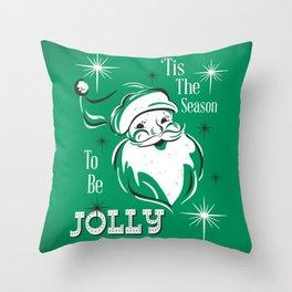 'Tis The Season - Retro Santa Green Throw Pillow
