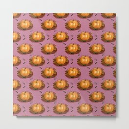 Fall Pumpkins in a Rosy Patch Metal Print