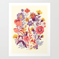 animal crew Art Prints featuring The Garden Crew by Teagan White
