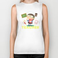 teacher Biker Tanks featuring teacher by Alapapaju
