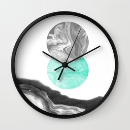 Suno - nature space planet marble abstract painting japanese marble watercolor paper marbling pastel Wall Clock