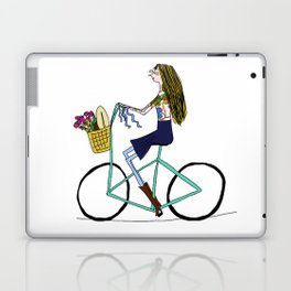 BIKE LOVE - lady on a picnic Laptop & iPad Skin