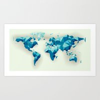 low poly world blue Art Print