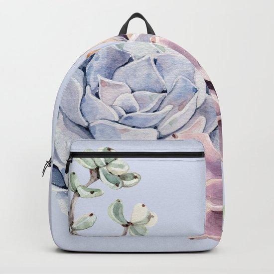 Pristine Blue Succulents Backpack