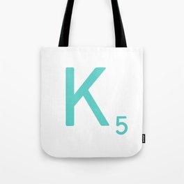 Custom Scrabble Wall Art Blue Letter K Tote Bag