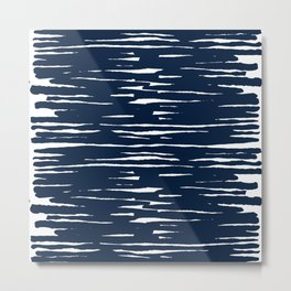Maritime pattern- darkblue handpainted stripes on clear white- horizontal Metal Print
