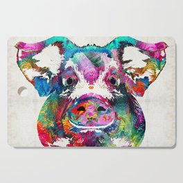 Colorful Pig Art - Squeal Appeal - By Sharon Cummings Cutting Board