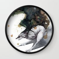 runner Wall Clocks featuring Night Runner by Rubis Firenos
