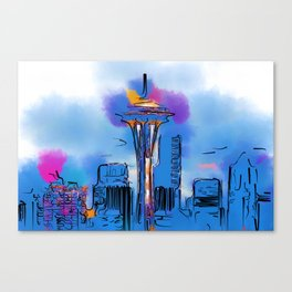 The Space Needle In Soft Abstract Canvas Print