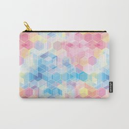 Hive: pink and blue hexagon pattern Carry-All Pouch