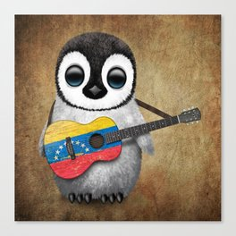 Baby Penguin Playing Venezuelan Flag Guitar Canvas Print