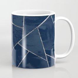 Midnight Navy Blue Ink Silver Geometric Glam #1 #geo #decor #art #society6 Coffee Mug