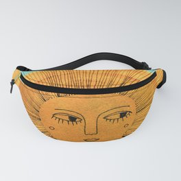 Sun Drawing - Gold and Blue Fanny Pack