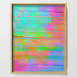 Neon colored abstract geometric triangle design Serving Tray
