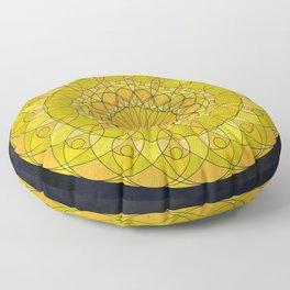 Yellow Psychedelic Mandala Kaleidoscope Floor Pillow