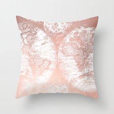 Rose Gold Pink Antique World Map Throw Pillow