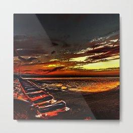 The Beach at Sunset Metal Print
