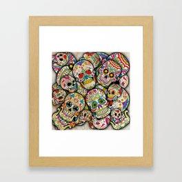 Sugar Skull Collage Framed Art Print