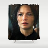 katniss Shower Curtains featuring I Am, I Will by Kate Dunn