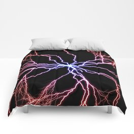 Electrical Lightning Discharge Blue to Red Comforters