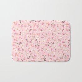 Cherry Blossom Pattern on Peach Background Bath Mat