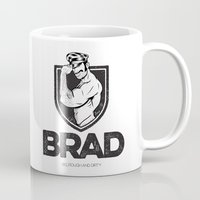 brad pitt Mugs featuring BRAD by BradLee