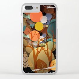 Trees and leaves in sun spots Clear iPhone Case