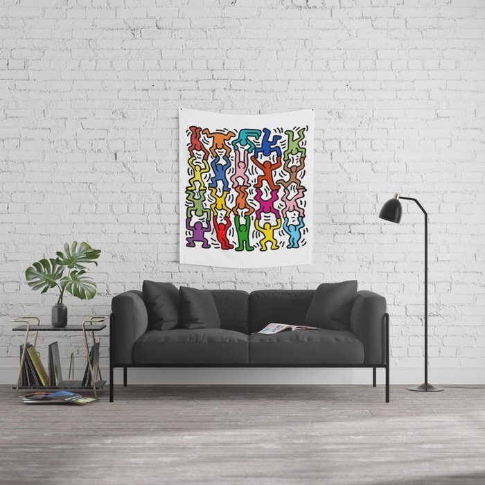 Homage to Keith Haring Acrobats II Wall Tapestry