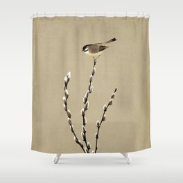 Chickadee And Pussy Willow Shower Curtain