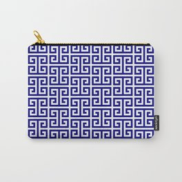 Navy and White Greek Key Pattern Carry-All Pouch