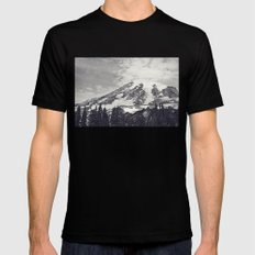 Mount Rainier B&W Mens Fitted Tee LARGE Black
