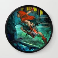 red hood Wall Clocks featuring Red Hood by Artgerm™