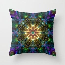 Neon - Fractal - Mandala - Kaleidoscope - Manafold Art Throw Pillow