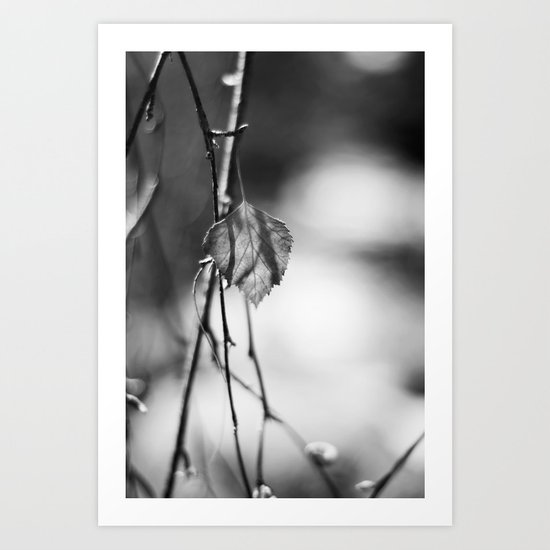 Last Leaf of Winter in Black and White Art Print