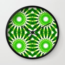 Serene Green Pinwheel Flowers Wall Clock