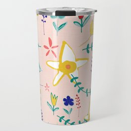Floral The Tortoise and the Hare is one of Aesop Fables pink Travel Mug