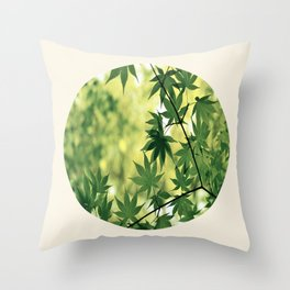 Spring Green Japanese Maple Round Photo Throw Pillow