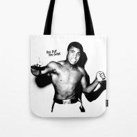 ali gulec Tote Bags featuring Ali #3 by YBYG