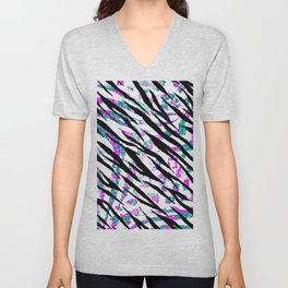 Animal Print In Bright Colors Unisex V-Neck