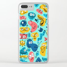 Colorful Character Shapes Clear iPhone Case