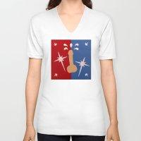 penis V-neck T-shirts featuring Felt Penis: Super Schlong by BRENT PRUITT