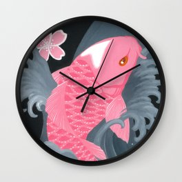 Love Koi Pastel Pink Wall Clock