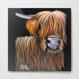 Scottish Highland Cow ' JOCK ' by Shirley MacArthur Metal Print