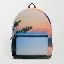 Palm Tree Sunset Print Backpack