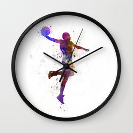 young man basketball player one hand slam dunk Wall Clock